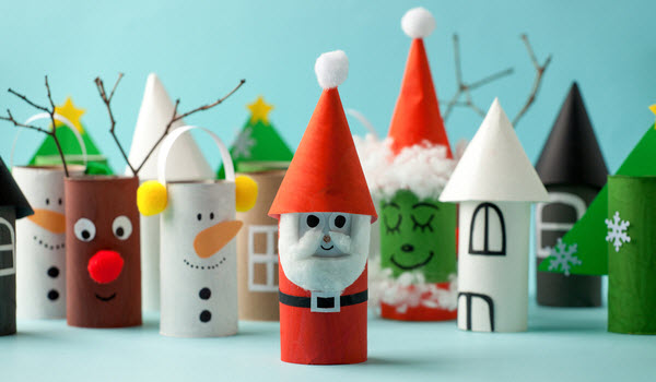 Christmas decoration toys made with toilet paper roll