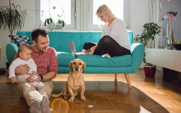 Father sitting on the floor with baby and his wife sitting on the sofa using laptop